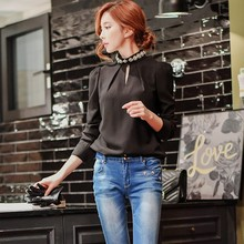 original long sleeved shirt 2016 new self-cultivation all-match bubble sleeve pearls stand collar blouses women wholesale