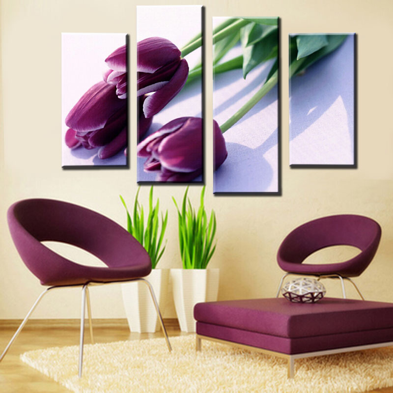 Unframed 4pcs Purple Tulip Flower Modern Paint Print Canvas Large HD  Picture Home Wall Art PictureCompare Prices on Purple Room Paint  Online Shopping Buy Low Price  . Cost To Paint A Large Living Room. Home Design Ideas