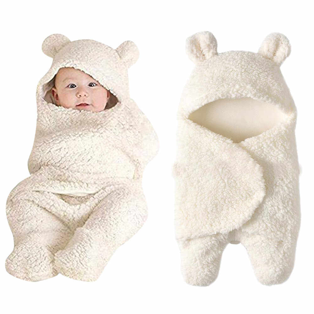 יילוד תינוק חמוד כותנה קבלת לבן שינה שמיכת ילד ילדה לעטוף חורף החתלה חדש נולד צילום עבור 0 ~ 12m שנים