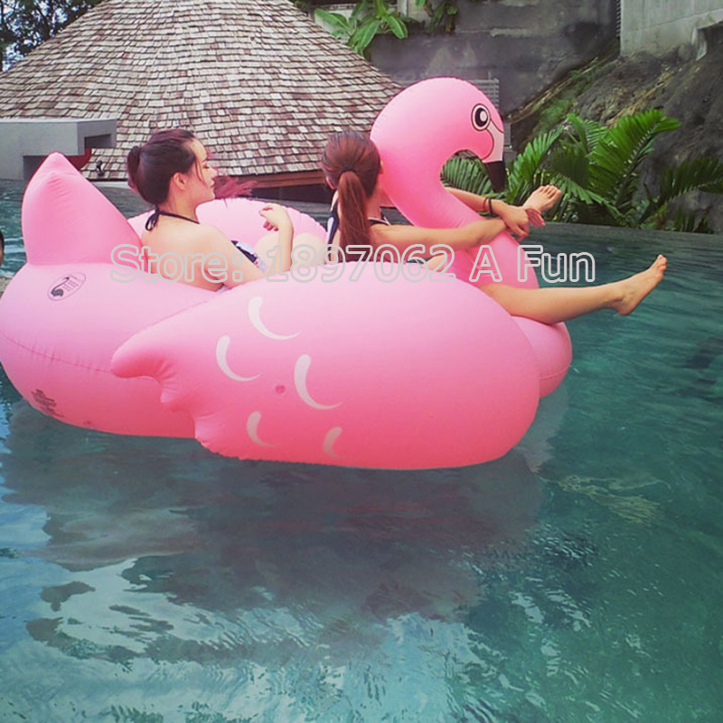 70 inch 1.9M Giant Swan PVC Inflatable Pink Flamingo Ride-On Pool Floating Toy Swim Mat for Adult Child Float Chair PF025 inflatable giant pegasus floating rideable air mattresses air sofa cute swimming pool toy float raft for beach holiday ring
