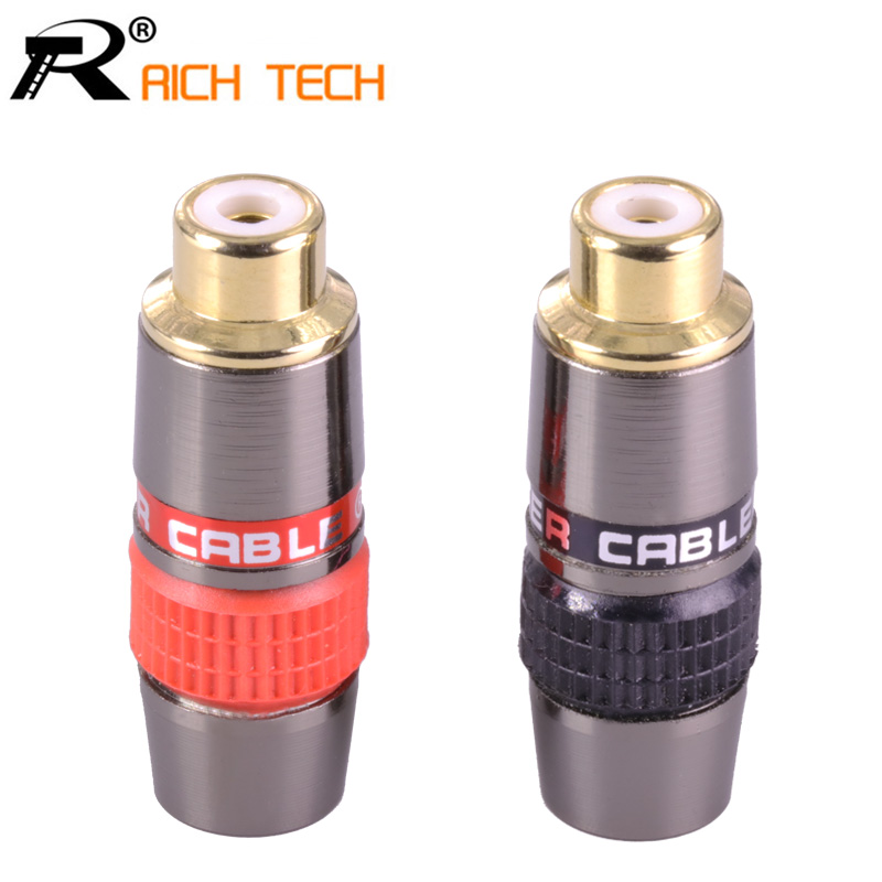 2Pcs/1Pair RCA Connector Gold Plated RCA Plug Jack Socket Audio Adapter Black&red In 1pair Speaker Plug
