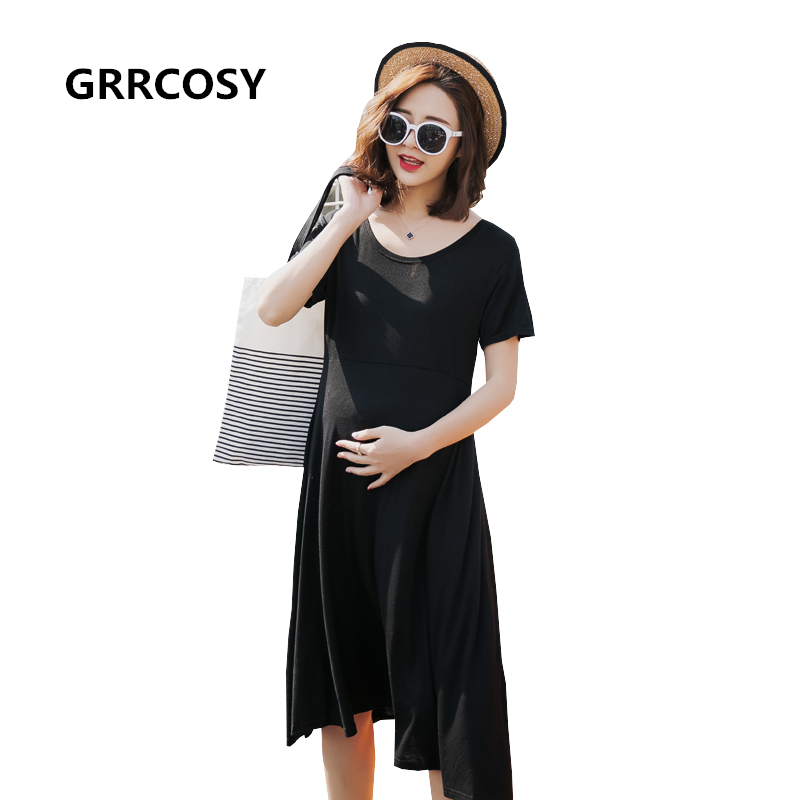 GRRCOSY Modal Black Maternity Pregnancy Dress Summer Pregnancy Clothing Maternity Dresses for Pregnant Women Plus Size modal analysis