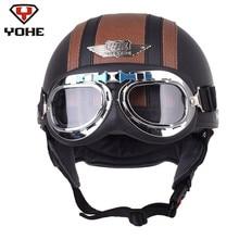 YOHE Retrò In Pelle Pilota Moto Casco Aviator Mezza Caschi Cascos Moto Casque Vintage Capacetes Chopper Cruiser Moto
