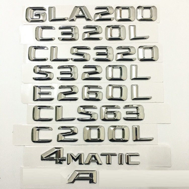 <font><b>Chrome</b></font> Car Trunk Letters Emblem Badge for <font><b>Mercedes</b></font> Benz <font><b>W124</b></font> W202 W203 W210 C320lL E260L C S GLA Series Stickers image