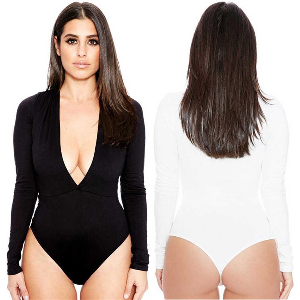 Sexy cuello en V Mujer Bodi Casual de manga larga sólido mujer cuerpo corto mono Bodycon Slim básico mono Mujer