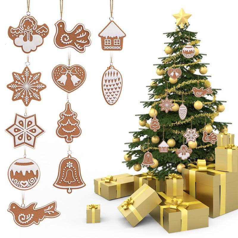 11 PCS Cartoon Animal Snowflake Biscuits Hanging Christmas