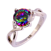 lingmei Free Shipping Wholesale Round Mysterious Rainbow Topaz 925 Silver Ring Size 6 7 8 9 10 Fashion Popular Unisex Jewelry