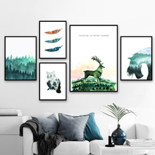 Watercolor Deer Owl Horse Forest Feather Wall Art Canvas Painting Nordic Posters And Prints Pictures Living Room Home Decor