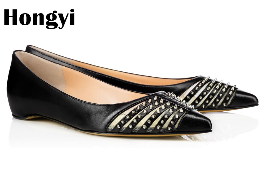 Hongyi 2018 Spring Autumn New Arrival Flat Heel Shoes All-Match Pointed Toe Cute Metal Bees Loafers Women Slip On Rivet Flats odetina 2017 new women pointed metal toe loafers women ballerina flats black ladies slip on flats plus size spring casual shoes