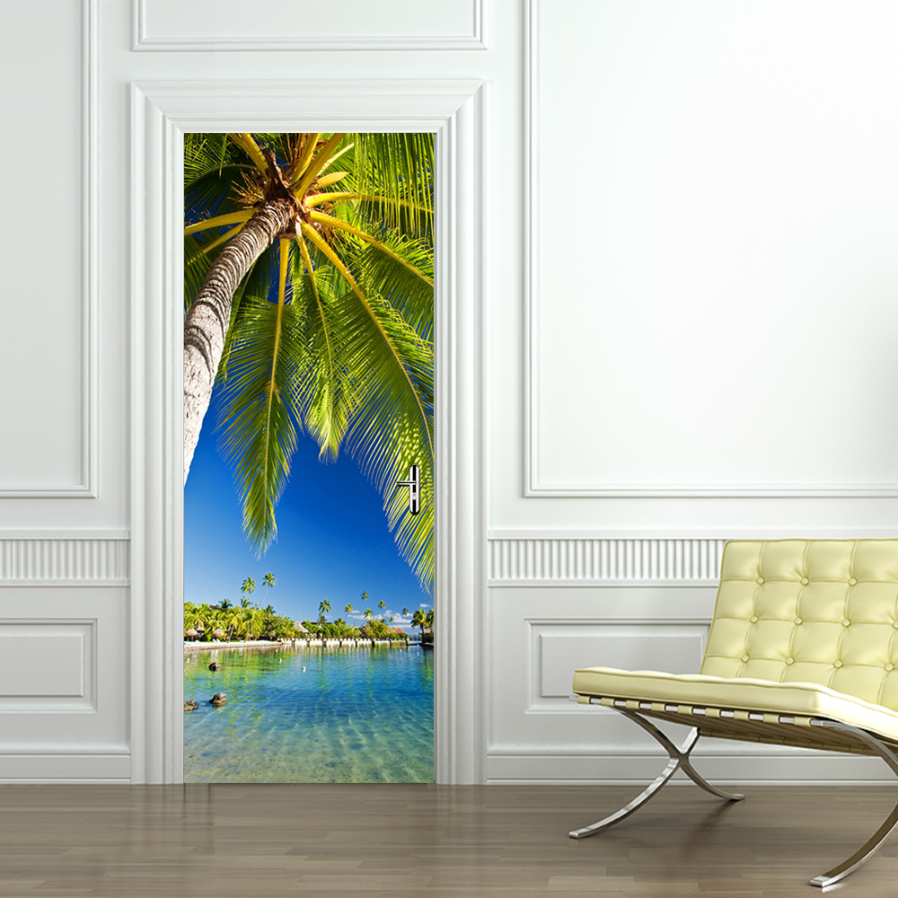 Palm Tree Waterproof Door Sticker Living Room Bathroom