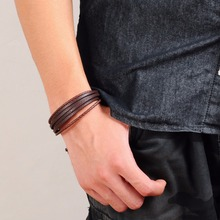 Men's Punk Style Leather Bracelet with Magnetic Clasp