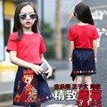Мода Набор Детей Летом Красный Короткими Рукавами футболка + Юбка Хорошее Качество 3D Вышивка Девушки Одежда Набор Хорошо летние Детские Наборы