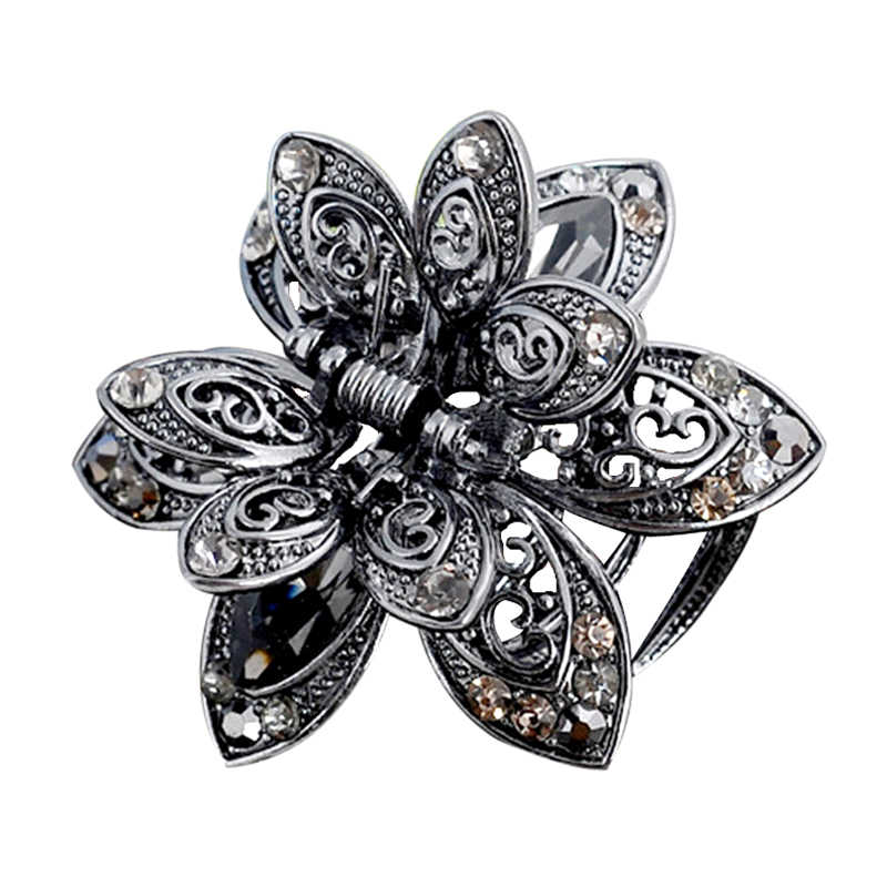 9fcdbed05 Vintage 3 Color Big Crystal Flower Hair Claws Wedding Hair Clip Women Hair  Jewelry With Charm