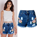 Olrain  2017 Women Summer Vintage Personalized Embroidery Floral Tassel Hole High Waist Denim Jeans Mini Shorts Slim Plus Size