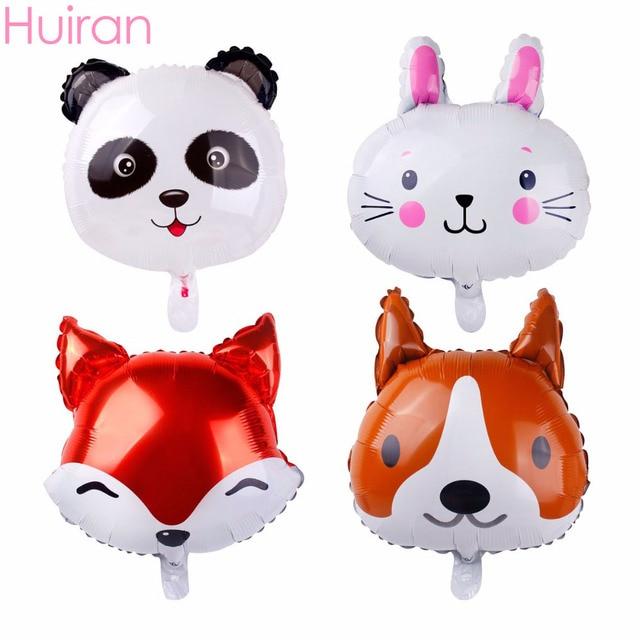 HUIRAN 18inch Animal Head Foil Balloon Fox Panda Rabbit Dog Kawaii Accessories Baloon Jungle Party Decor Happy Birthday Balloons
