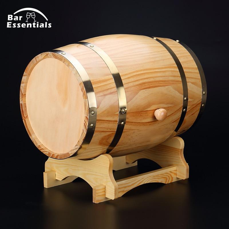 1.5L beer brewing keg Vintage Wood Oak Timber Wine Barrel for Whiskey Rum Port Decorative Barrel Keg Hotel Restaurant Display