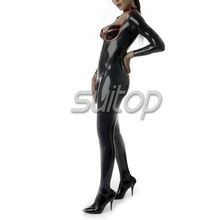 Suitop low-cut charming latex catsuit