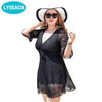 Faerdasi 3XL 6XL Lace Swimwear Women One Piece Swimsuit Fused Solid Color Deep V Bathing Suit