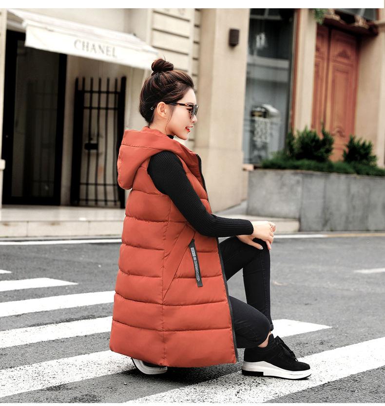 Autumn Winter Women Waistcoat Sleeveless Vest Jacket Hooded Warm Long 22