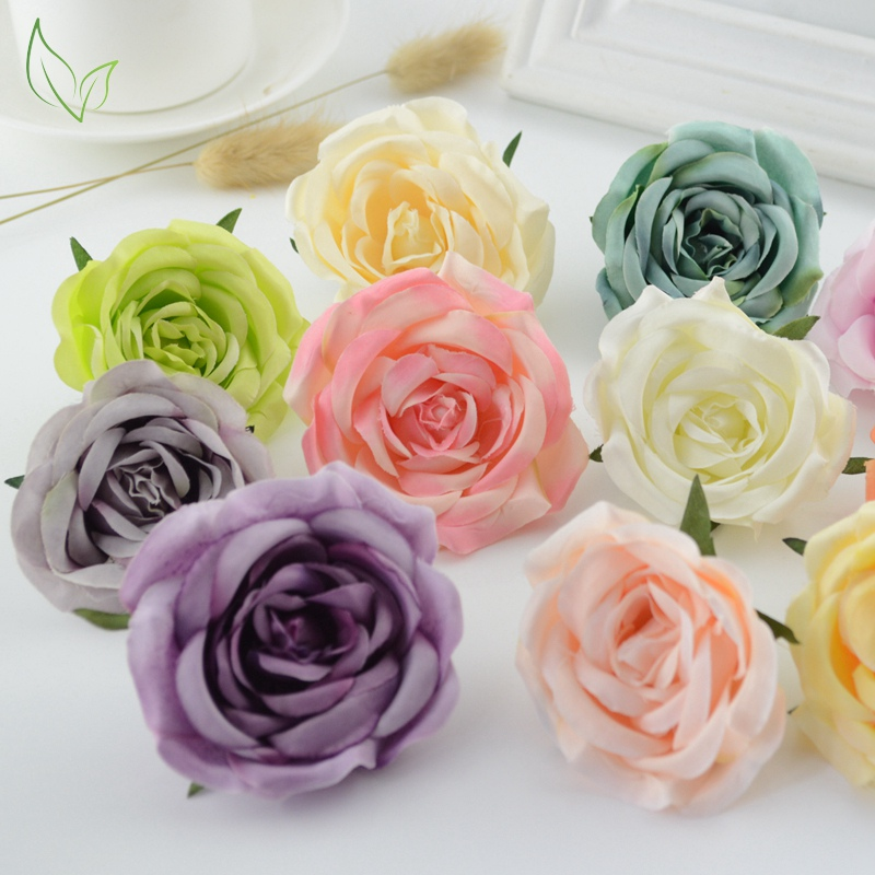 Silk roses Head 1pcs high quality Artificial Flowers for Home Bride bouquet Festival DIY Wreath material Wedding car Decoration