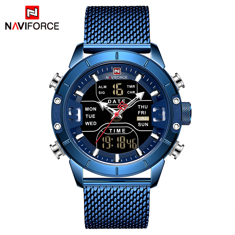 Image 2 - Relogio Masculino NAVIFORCE Men Watch Top Luxury Brand Man Military Sport Quartz Wrist Watches Stainless Steel LED Digital Clock-in Quartz Watches from Watches