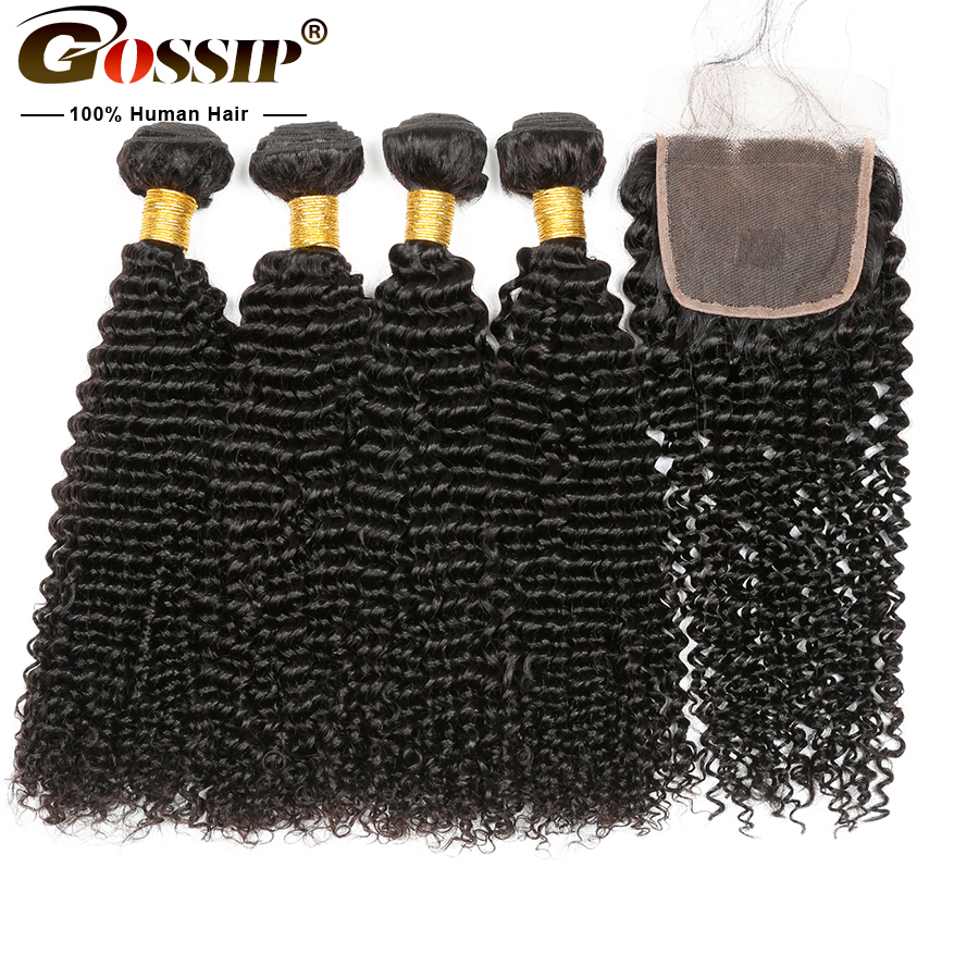 Mongolian Kinky Curly 3 Bundles With Closure Human Hair Bundles With Closure Gossip Remy Hair 100
