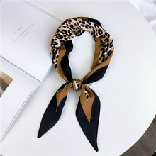 New Leopard diamond scarf women's fashion Joker professional Korean small long silk scarves neckerchief bag hair Ribbons