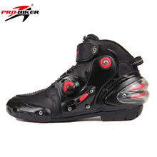 PRO-BIKER SPEED Black Tiger Men's Motocross Racing Boots Motorcycle Ankle Boots Moto Off-Road Motorbike Shoes Botas