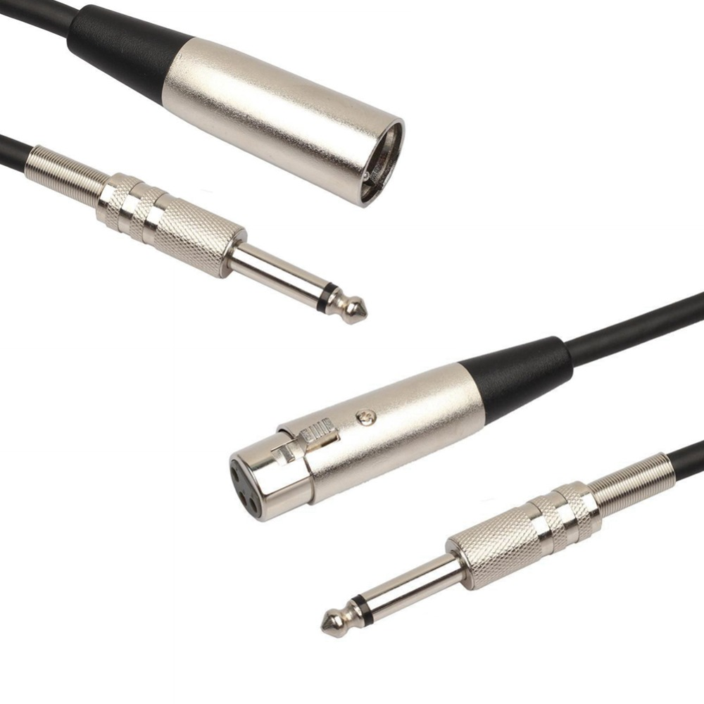 <font><b>3</b></font>-<font><b>Pin</b></font> XLR Female/Male to 1/<font><b>4</b></font> 6.35mm Mono <font><b>Jack</b></font> Male Plug TRS Audio Cable Mic Adapter Cord for Microphone Speaker Amplifier image