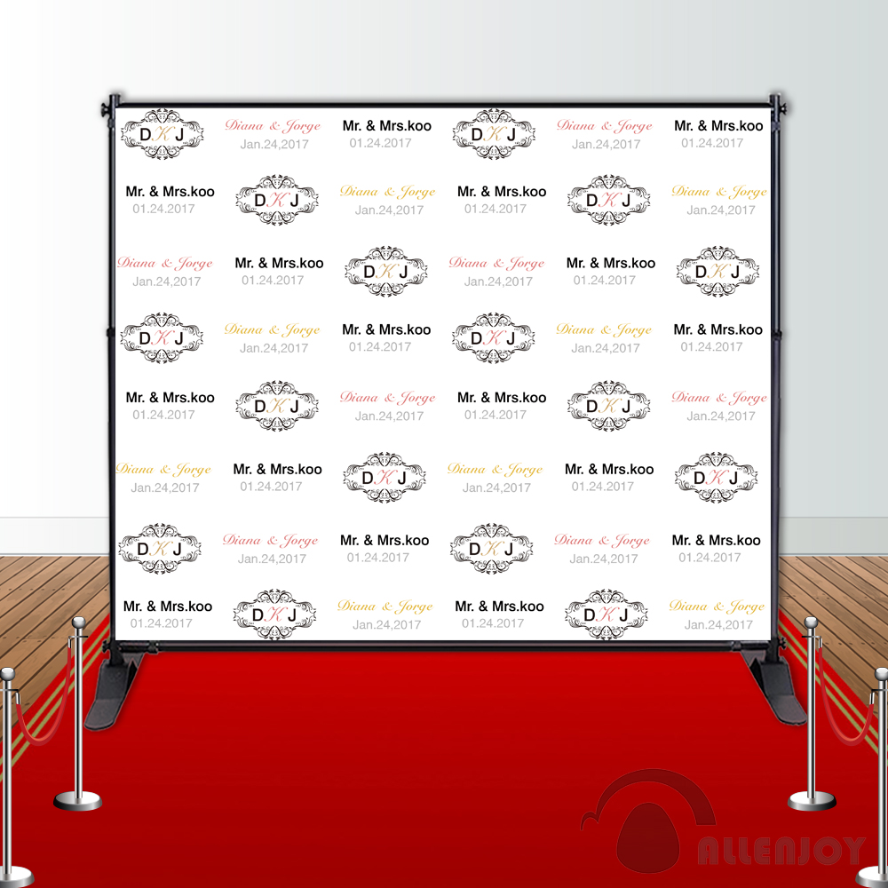 Allenjoy wedding backdrops Step and Repeat Background photobooth Anniversary party banner Invitation celebration Party customize allenjoy backdrops baby shower background pink stripe rose gold circle birthday invitation celebration party customize