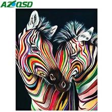 AZQSD Diamond Painting Animals Needlework Diamod Mosaic Colorful Zebra Picture Of Rhinestones Cross Stitch Full Square Gift