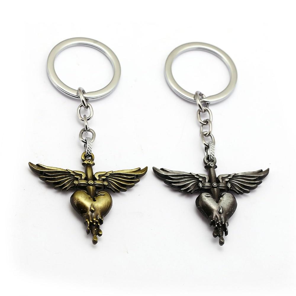 Rock Band Bon Jovi Keychain Wing Heart Key Ring Holder Car Bag Chaveiro Key Chain Pendant Men Christmas Gift Jewelry цены онлайн