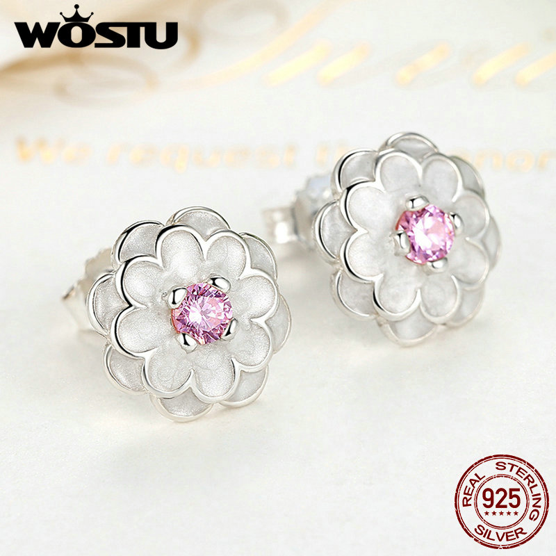 Authentic 925 Sterling Silver Blooming Dahlia With Pink Crystal Original Pan Stud Earrings For Women Wedding Gift DIY Jewelry Eo9y43w