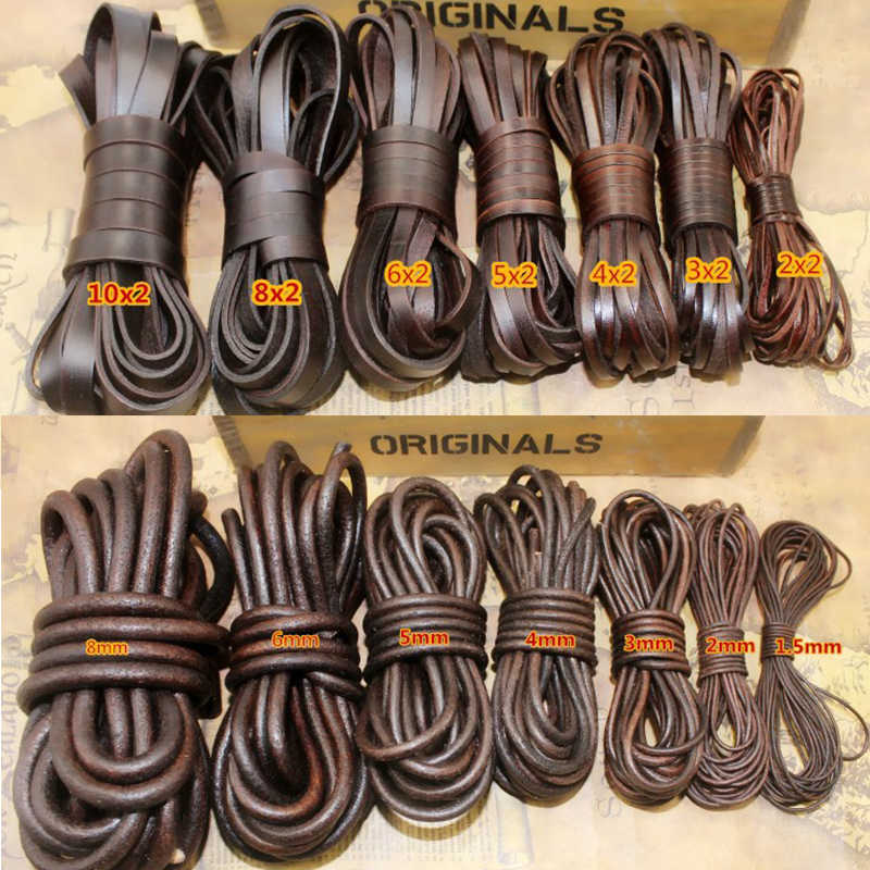 2M Retro Brown Real Genuine Leather Cord Round Flat Rope String For DIY Necklace Bracelet Jewelry Cord 1.5mm 2mm 3 4 5 6 8 10mm