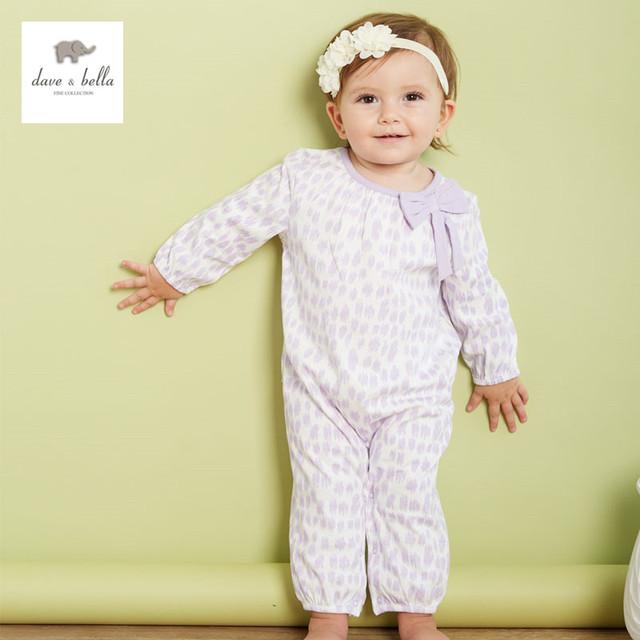 DB3198 leoparfd de dave bella otoño del resorte del bebé ropa infantil del mameluco del bebé de una sola pieza de punto mameluco del bebé mono bebé babysuits