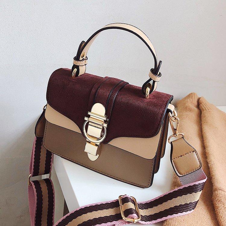 PURPLE New Women Leather Handbags Luxury Contrast Color Shoulder Bag