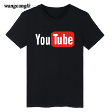 2017 Funny Youtube Logo Black Printed Cotton T-shirt Men with 4XL You Tube Men T Shirt Luxury Brand in Tee Shirt Tops Couple XXs