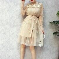 Spring Ladies Sweet 3D Lace Flowers Splicing Fairy Pearl Bead Gauze Mesh Dress Elegant Flare Sleeve