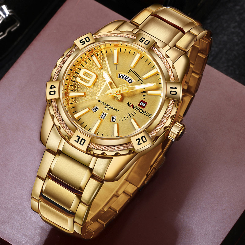 NAVIFORCE Luxury Brand Mens Sport Watch Gold Full Steel Quartz Watches Men Date Waterproof Military Clock Man Relogio Masculino(China)