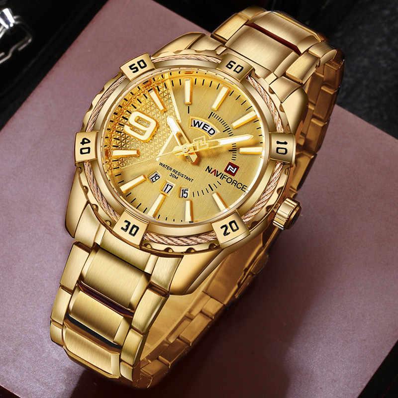 NAVIFORCE lüks marka erkek spor izle altın tam çelik kuvars saatler erkekler tarihi su geçirmez askeri saat adam relogio masculino