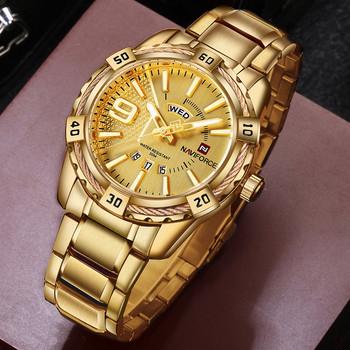 NAVIFORCE luksusowej marki mężczyzna sporta zegarek złoty pełna stal kwarcowy zegarki mężczyźni data wodoodporny zegarek wojskowy człowiek relogio masculino tanie i dobre opinie 24cm Moda casual QUARTZ NONE 3Bar Składane bezpieczne zapięcie CN (pochodzenie) STOP 13mm Hardlex Kwarcowe zegarki