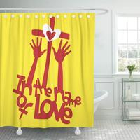 Shower Curtain Religion in The Name of Love Hands Worship Cross Heart Jesus Bible Biblical Catholic Bathroom Curtains