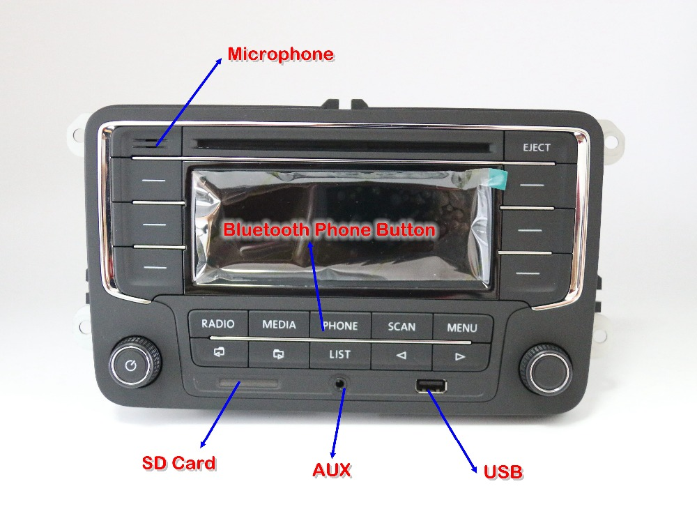 used rcn210 bluetooth mp3 usb player cd mp3 radio for vw golf 5 6 jetta mk5 mk6 passat b6 cc b7. Black Bedroom Furniture Sets. Home Design Ideas