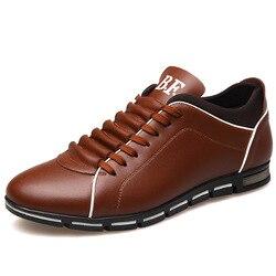 Plus size 37-48 Sapatas Dos Homens Da Marca Inglaterra Tendência Footear Preguiçosos Lazer Sapatos Casuais Sapatos de Couro Respirável Para O Sexo Masculino apartamentos dos homens