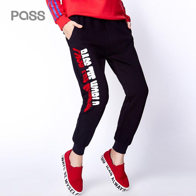 PASS 2017 Autumn Winter Women Pants Letter Print Pocket Style Elastic Waist Harem Pants Femme Long Length Casual Trousers