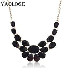 YAOLOGE luxury Fashion Amazing Crystal Beaded Flower Necklaces & Pendants crystal bib big rhinestone necklace For Women Jewelry