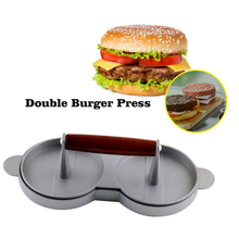 Hamburger Patties Maker Burger Meat Press Patty Maker Aluminum Nonstick Double Burger Press Hamburger Crab Home Kitchen BBQ