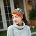 2016 coréia do projeto 3 Uso Chapéu Feito Malha Do Lenço & chapéu do Inverno chapéus para As Mulheres Listrado Meninas Gorros Skullies Gorros Hip-quente senhora gorros