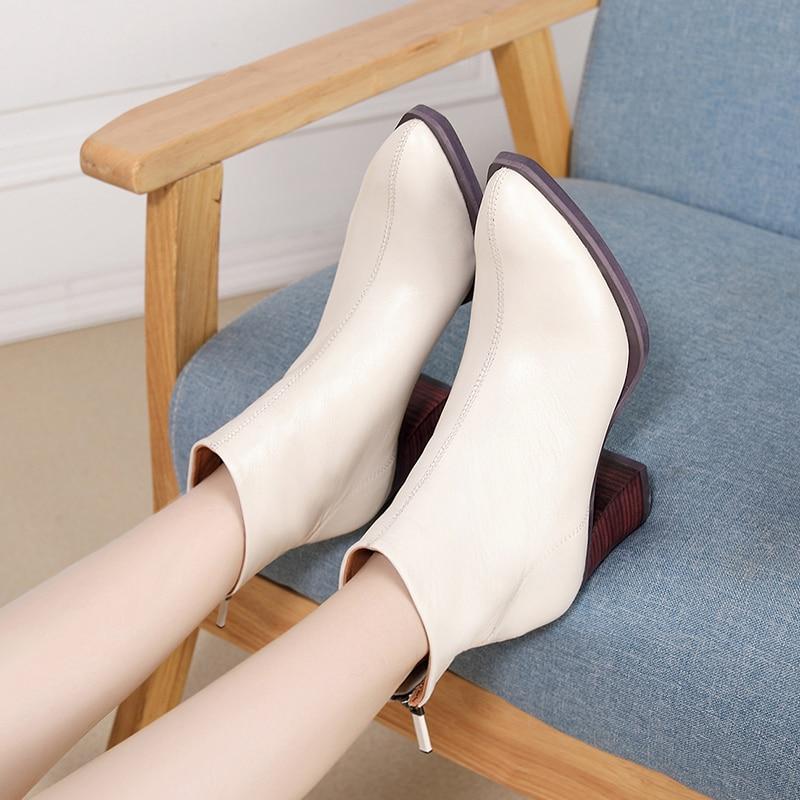 2019 VALLU جلد طبيعي النساء الأحذية أزياء أحذية جلد الغنم السيدات حذاء من الجلد حذاء بكعب سميك الإناث الأحذية الجوارب-في أحذية الكاحل من أحذية على  مجموعة 1