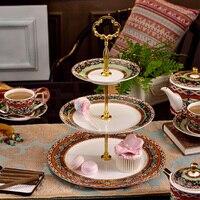 2 layer fruit tray or 3 layer cake stand Multi layer cake plats bone china Dessert plates Candy trays Wedding cake decorations